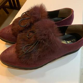 24cm ファー付きローファーcavacava(ローファー/革靴)