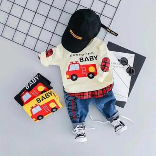 ビームスボーイ(BEAMS BOY)の22. セットアップ デニム チェック 消防車(Tシャツ/カットソー)