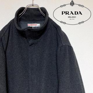 プラダ(PRADA)の【イタリア製ヴィンテージ】PRADA サイドジップスタンドカラーロングコート(チェスターコート)