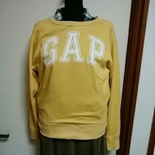 ギャップ(GAP)の新品未使用GAP ロゴ入りトレーナークリームイエローXS 9号男女兼用(トレーナー/スウェット)