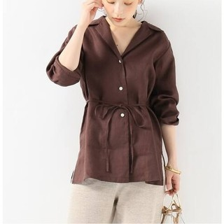 イエナ(IENA)の【IENA】 開襟シャツジャケット チョコレートブラウン フリーサイズ(テーラードジャケット)