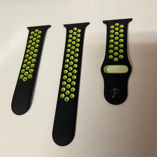 アップルウォッチ(Apple Watch)のラバーベルト:Apple Watch純正(40㎜、黒黄)(ラバーベルト)