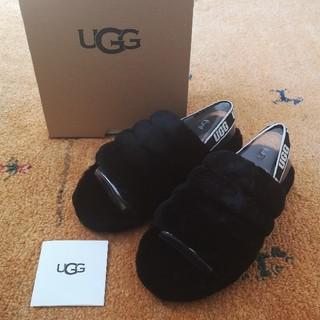 アグ(UGG)の新品 23.5cm UGG サンダル フラッフイヤー スライド ブラック(サンダル)