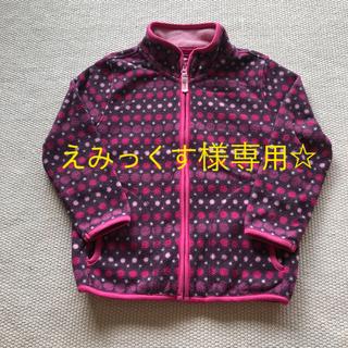 ユニクロ(UNIQLO)の女子 ユニクロ ドット柄 薄手 ファスナー付きフリース 110㎝(ジャケット/上着)