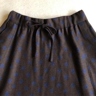 フォーティーファイブアールピーエム(45rpm)の極美品🔸45rpm 45R  ジャージフラノ ウール ドット フレア スカート(ロングスカート)