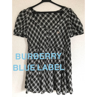 BURBERRY BLUE LABEL - BURBERRY BLUE LABEL トップス 黒 チェック 半袖