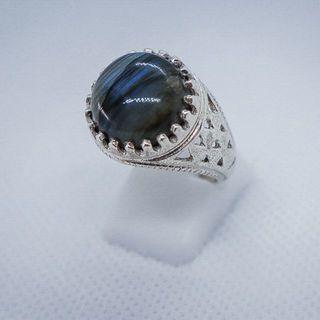 【イタリア製】リング 天然石 ラブラドリーテ シルバー925 指輪(リング(指輪))