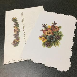フェリシモ(FELISSIMO)の特価 パンジー グリーティングカード バースデーカード メッセージカード 封筒付(カード/レター/ラッピング)