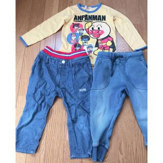 エックスガール(X-girl)の子供服 95センチ アンパンマン xgirl ジーパン デニム ロンT3点セット(Tシャツ/カットソー)