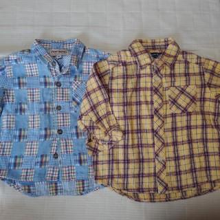 アクアブルー(Aqua blue)の男の子  チェック シャツ セット 80(シャツ/カットソー)