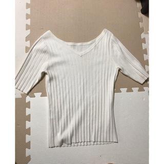 プラステ(PLST)のプラステ 前後2way ニット 5部袖  ホワイト M(ニット/セーター)