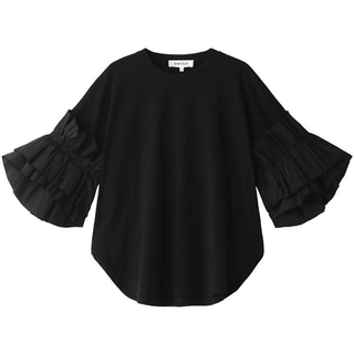 ENFOLD スーピマ天竺 フリルスリーブTシャツ ブラック 新品タグ付き