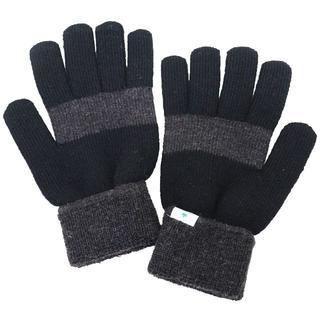 ロゴス(LOGOS)のLOGOS ロゴス 手袋 5本指 ニット 2カラー配色★ブラック新品【日本製】(手袋)