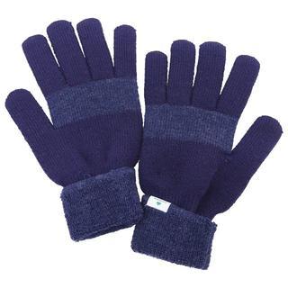 ロゴス(LOGOS)のLOGOS ロゴス 手袋 5本指 ニット 2カラー配色★ネイビー新品【日本製】(手袋)