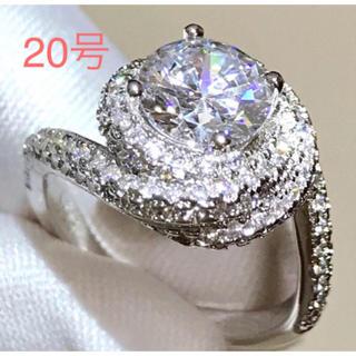 新品20号スクリューパヴェリング指輪高級 5ACZダイヤモンドシルバー925  (リング(指輪))