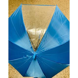 キッズ 長傘 ブルー 透明窓付き 55㎝(傘)