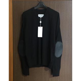 マルタンマルジェラ(Maison Martin Margiela)の黒S新品 メゾン マルジェラ エルボーパッチ V ニット リネン ブラック(ニット/セーター)