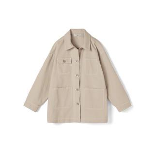 グレイル(GRL)のGRL ツイルビッグジャケット ベージュ 新作 人気 オーバーサイズ カジュアル(Gジャン/デニムジャケット)