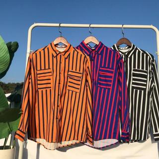 ハレ(HARE)のハレ 韓国 ストライプシャツ オレンジ パープル ブラック(シャツ)