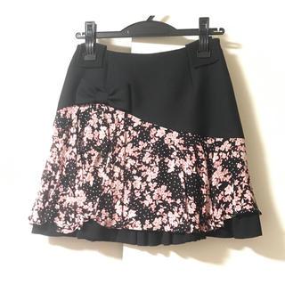 ルシェルブルー(LE CIEL BLEU)の☆ マニアニエンナ ミニスカート 黒 ブラック 花柄 MANIANIENNA(ミニスカート)