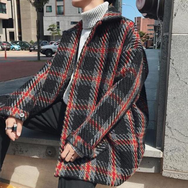 HARE(ハレ)のハレ チェックコート ユニセックス ブルー ブラック メンズのジャケット/アウター(チェスターコート)の商品写真