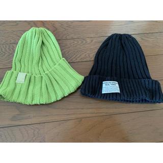 GU - 【2個セット】ニットキャップ ニット帽 帽子 ビビットイエローグリーン 黒