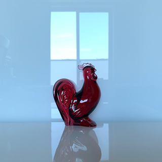 バカラ(Baccarat)の✯1993 極レア バカラ 酉 鳥 クリスタル 赤 レッド ルビー 干支 置物✯(置物)