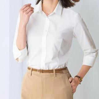 セシール(cecile)のセシール ブラウス 形態安定シャツ 7分袖 ホワイト サイズ L(シャツ/ブラウス(長袖/七分))