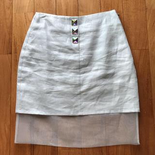 ハニーミーハニー(Honey mi Honey)のハニーミーハニー  裾オーガンジー ビジューボタンタイトスカート(ひざ丈スカート)