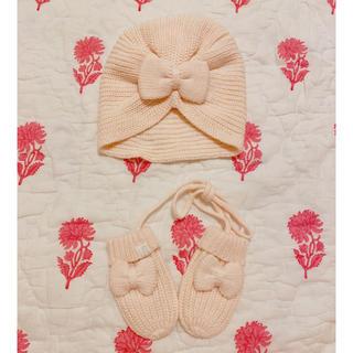 ボンポワン(Bonpoint)の♡美品♡CARREMENT BEAU(カレマンボー)♡ボウニットハット&ミトン♡(帽子)