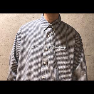 メンズ L 白紺ベージュ チェック柄 綿ポリ 長袖シャツ チェックシャツ(シャツ)
