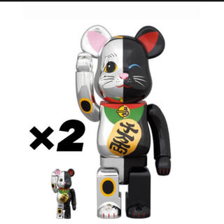 メディコムトイ(MEDICOM TOY)のBE@RBRICK 招き猫 銀×黒 100% & 400%×2(その他)