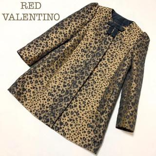 レッドヴァレンティノ(RED VALENTINO)のRED VALENTINO(ヴァレンティノ)ノーカラージャケット レオパード.(ノーカラージャケット)