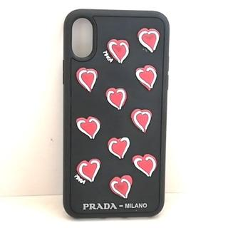 プラダ(PRADA)のプラダ 携帯電話ケース - 黒×レッド×白(モバイルケース/カバー)