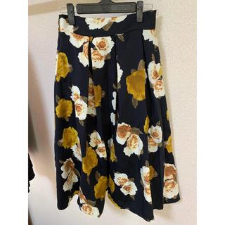 グレイル(GRL)の花柄フレアスカート ネイビー(ひざ丈スカート)