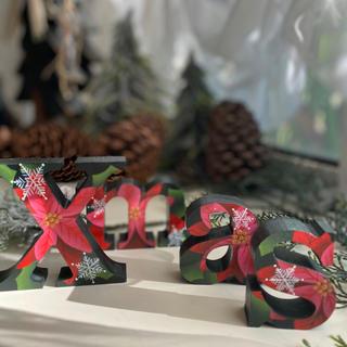 オシャレな クリスマス イニシャルオブジェ【Xmas】【ポインセチア】(置物)
