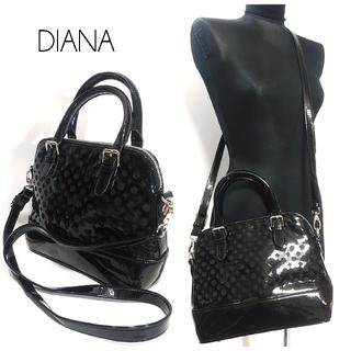 ダイアナ(DIANA)のダイアナ エナメル ショルダーバッグ ハンドバッグ 黒 2way レディース(ショルダーバッグ)