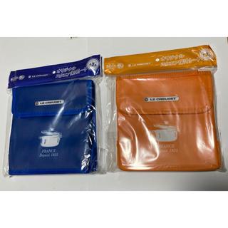 ルクルーゼ(LE CREUSET)の新品 ル・クルーゼ  ボス オリジナルスクエア保冷トート青色 オレンジ2枚セット(弁当用品)