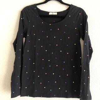 長袖Tシャツ カラフルなドット柄 ブラック ボートネック(Tシャツ(長袖/七分))