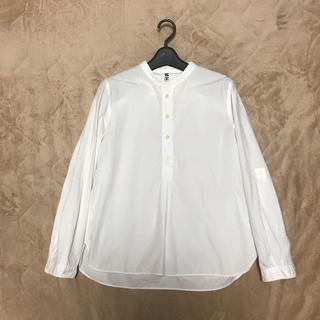 マーガレットハウエル(MARGARET HOWELL)のMHL ノーカラーシャツ ブラウス カラーレスシャツ 白 ホワイト(シャツ/ブラウス(長袖/七分))
