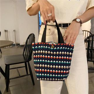 ディーホリック(dholic)のラス1点!新品♡海外セレクト パターンデザインしわ加工ハンドバッグ・ネイビー(ハンドバッグ)