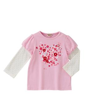 ミキハウス(mikihouse)のミキハウス 110 重ね着風ハートピンク ロンT 女の子 長袖Tシャツ(Tシャツ/カットソー)