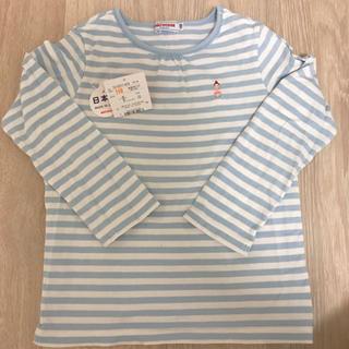 ミキハウス(mikihouse)のミキハウス 110 リーナちゃん 水色ボーダー ロンT 女の子 長袖Tシャツ(Tシャツ/カットソー)