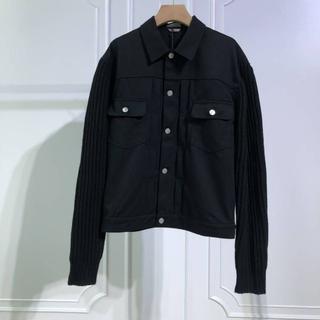 ディオール(Dior)のDIOR ブルゾン ジャケット アウター 異素材 メンズ 黒(Gジャン/デニムジャケット)