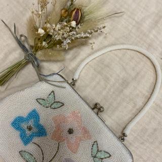 ロキエ(Lochie)のvintageレトロ古着お花ビーズ刺繍がまぐちbag(ハンドバッグ)