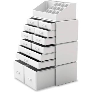 化粧品収納ボックス 特大容量 メイクボックス メイク収納ケース (ホワイト)(メイクボックス)