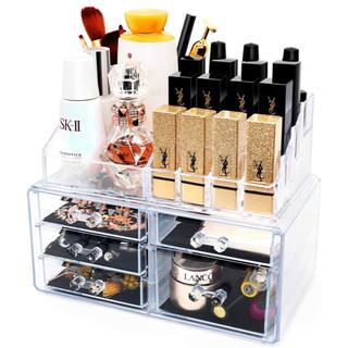 メイクボックス 大容量 高透明度 引き出し アクセサリー/化粧品入れ 耐久(メイクボックス)