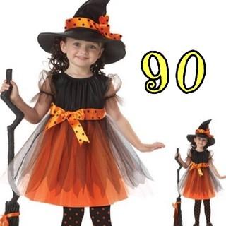 新品未使用☆ 魔女 ハロウィン コスプレ キッズ 帽子付き 可愛い 90(衣装一式)
