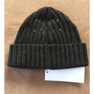 マルタンマルジェラ(Maison Martin Margiela)のM新品 メゾン マルジェラ リブ ニットキャップ ニット帽 メンズ グレー(ニット/セーター)