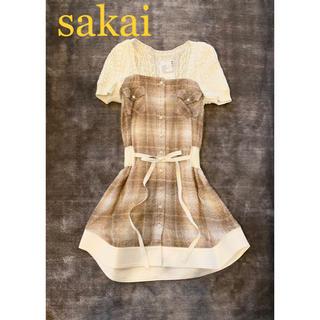 サカイ(sacai)のsakai サカイ ニット素材ワンピース ベージュ(ひざ丈ワンピース)